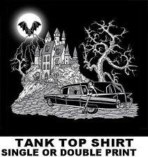 VAMPIRE CASTLE MOON BAT PIN UP GOTHIC GIRL FUNERAL HEARSE SKULL TANK TOP SHIRT