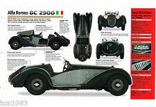 1937 / 1938 / 1939 ALFA ROMEO 8C 2900 SPEC SHEET / Brochure / Catalog: 8-C, '38