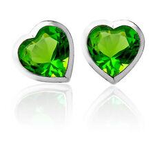 3mm-5mm HEART GREEN PERIDOT SCREW BACK EARRINGS 14K WHITE GOLD BABY-CHILD-ADULT