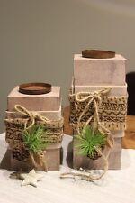 Weihnachtlicher Kerzenhalter a. Holz mit Strick u. Weihnachtsdeko♥Kerzenleuchter