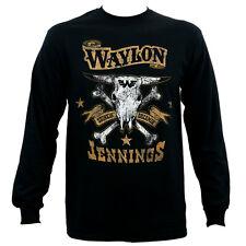 WAYLON JENNINGS Drinkin And Dreamin Brown Logo Long Sleeve T-Shirt S-3XL NEW