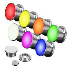 Flesh orecchio piercing TUNNEL PLUG ARGENTO LUCE LED Colorato Brillante incl.