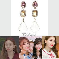 K-POP SUZY TWICE EXID Large Victorian Pink Yellow Crystal Drop Earrings K-Drama