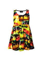 Girl's Childrens Multi Exotic Sunset Palm Trees Sleeveless Skater Dress 5-10 Yrs