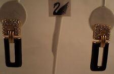 Signed Sal Swarovski Pave' Black Enameling Pierced Earrings
