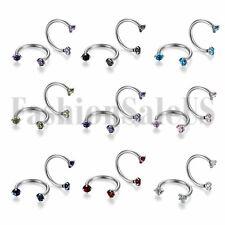12mm Zircon Nose Open Hoop Ring Lip Earring Stainless Steel Body Piercing Studs
