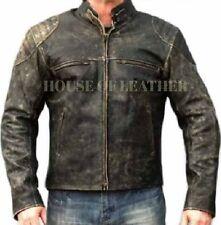 New Men Motorcycle Distressed Retro Hooligan Leather Jacket Biker Casual Vintage