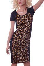 Womens Sexy SS Black Animal Print Cheetah Leopard Dress Small Med Lg 6 8 10 NEW