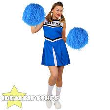 3d5c5c626 Senhoras Azul Colegial Líder de Torcida Traje Vestido extravagante Adultos  Com Pom Pom