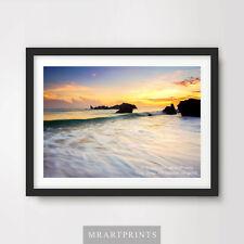 Puesta de sol mar océano ondas de agua de deriva cartel impresión De Arte Pared Arte Cuarto De Baño Playa