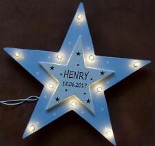 Schlummerlicht kleine Sterne LAMPE Geschenk Baby Geburt Taufe NAME HOLZ