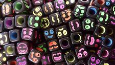 Lot 50 - 200 Perle Noir Smile Cube 6mm Braclet, Bijoux, Porte clé... Sourire