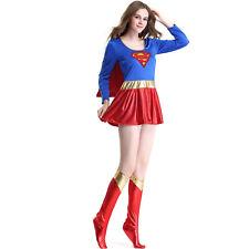 Ladies Petite Sexy Superwoman Supergirl Dress Costume Cape Sleeved Short Dress