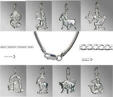 Pendentif en argent 12 Signes du zodiaque avec chaîne Horoscope - Sterling 925