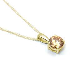 Diamante Oro 9 CT-único 1 CT Oro Macizo caracteriza Champán Diamante Colgante