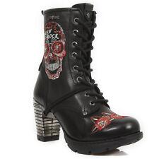 NEWROCK New Rock Mujeres Botas TR048 S3 Negro y Rojo Punk Gótico Botas de Cuero
