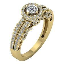 Genuine Diamond I1 H 1.20Ct Designer Solitaire Halo Engagement Ring Yellow Gold