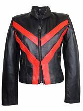 Da Donna Motociclista Blazer Giacca Di Pelle Giacca ROCKER-NERO ROSSO MOTO CHOPPER