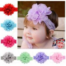Newborn Baby Girls Elastic Flower Headband Wedding Party Soft Lace Bow Headband