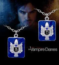 The Vampire Diaries Stefan/Damon Salvatore Blue Enamel Pendant & Chain Set