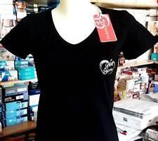 T-shirt donna Baci & Abbracci scollo a V con logo piccolo argento art BA02113 N