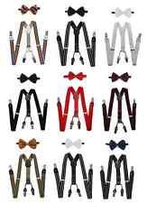 Adult Men Women Unisex Combo Deal 4 Clip-on Suspenders +  Bow-Tie Adjustable
