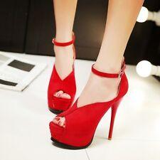 Sandalias de mujer Plataforma rojo elegantes tacón aguja talón 13.5 cm 5 9302