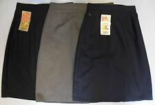 Ladies Girls School Work Uniform Straight Skirt Black Grey Navy Pocket Skirts