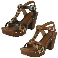 Ladies Savannah Manmade Buckle Up High Platform Wood Clog Cheetah Print Sandals