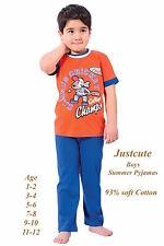 Boys Toddlers Summer Pyjamas short sleeved Pjs Fun Cricket Print 1 to 12 Years