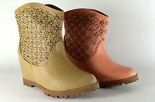 Scarpe donna stivaletti con strass estate boots stivali zeppa wedge a.166