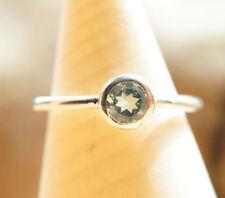 Handarbeit Ring Silber 54 Blautopas Modern Silberring Glänzend Schlicht Schmal