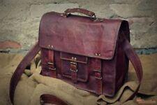 Best Brown Vintage Leather Bag Men's Messenger Shoulder Laptop Bag Briefcase