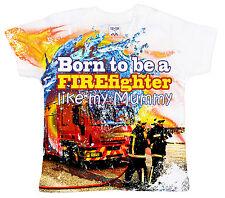 "DF Bebé Camiseta Estampado INTEGRAL ""Born To Be A FIREFIGHTER Like My Mamá"""