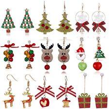 Christmas Tree Bell Deer Snowman Earrings Ear Stud Hook Xmas Party Women Jewlery