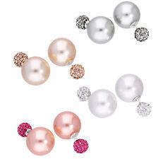 Orecchini d'argento Sterling con perle a due lati e pietre CZ