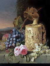grapes roses stein E. Ladell Tile Mural Kitchen Backsplash Art Marble Ceramic