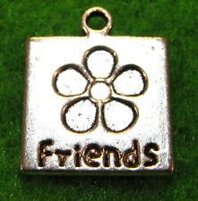 "10Pcs. Tibetan Silver ""FRIENDS"" Flower Charms Pendants Drops Findings WS22"