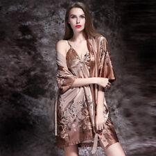 NEW Sexy Womens Silk Satin Pajamas Set Sleepwear&Robes Nightdress Nightgown P166