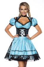 Sexy Dirndl Bluse Schürze Kleid Blau Schwarz Landhaus Fest Oktoberfest Trachten