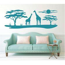 Landschaft Wandtattoo Giraffen Afrika Affenbrotbaum Sonne Savanne Wandaufkleber