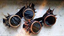 Steampunk Schweisserbrille Kupfer Pink Silber Stacheln Fliegerbrille Goggles