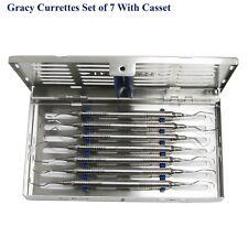 Dental Gracy currettes Set de 7 avec cassettes Parodontale Instruments Chirurgicaux