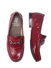 NIB NEW Gucci girls red or burgundy wine patent horsebit loafers 24 8 26 340742