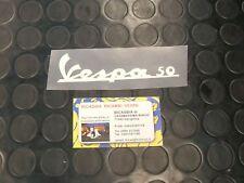 """0741 TARGHETTA ADESIVA BIANCA """" VESPA 50 """" SPECIAL R L"""
