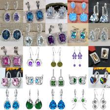 925 Sterling Silver White Sapphire Crystal Ear Stud Hook Drop Earrings Jewelry