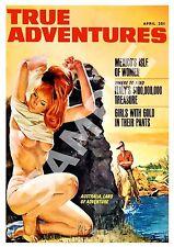 True Adventures , Vintage pulp magazine cover , Poster reproduction.