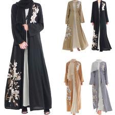 Dubai Women Embroidery Kaftan Abaya Cardigan Muslim Kimono Longsleeve Maxi Dress