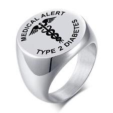 Silver Medical Alert ID Rings for Women and Men TYPE 1 Diabetes TYPE 2 Diabetes