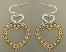 Luxus Ohrhänger Silber 925 - Herz Ohrschmuck Gold pl mit Zirkonia - Ohrringe 925